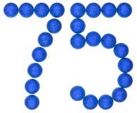 Número 75, setenta y cinco, de las bolas decorativas, aisladas en whi Fotos de archivo libres de regalías