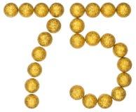 Número 75, setenta y cinco, de las bolas decorativas, aisladas en whi Imagenes de archivo