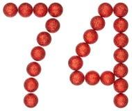 Número 74, setenta y cuatro, de las bolas decorativas, aisladas en whi Foto de archivo libre de regalías