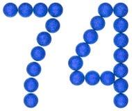 Número 74, setenta y cuatro, de las bolas decorativas, aisladas en whi Fotografía de archivo