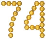 Número 74, setenta y cuatro, de las bolas decorativas, aisladas en whi Imagen de archivo
