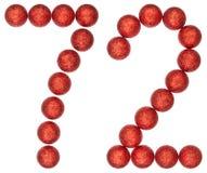 Número 72, setenta y dos, de las bolas decorativas, aisladas en pizca Foto de archivo libre de regalías