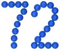 Número 72, setenta y dos, de las bolas decorativas, aisladas en pizca Imágenes de archivo libres de regalías
