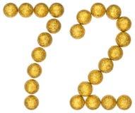 Número 72, setenta y dos, de las bolas decorativas, aisladas en pizca Imagen de archivo libre de regalías