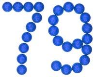 Número 79, setenta y nueve, de las bolas decorativas, aisladas en whi Imagenes de archivo