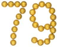 Número 79, setenta y nueve, de las bolas decorativas, aisladas en whi Fotos de archivo libres de regalías