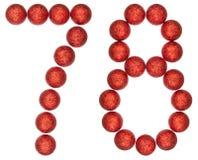 Número 78, setenta y ocho, de las bolas decorativas, aisladas en wh Fotografía de archivo