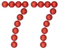 Número 77, setenta y siete, de las bolas decorativas, aisladas en wh Fotos de archivo libres de regalías