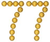 Número 77, setenta y siete, de las bolas decorativas, aisladas en wh Imagen de archivo libre de regalías