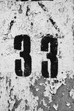 Número sucio treinta y tres Imágenes de archivo libres de regalías