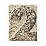 Número 2 tallado en un bloque de cemento Foto de archivo