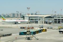 Número terminal 3 de aeropuerto internacional Ben-Gurion en el teléfono-Avi fotos de archivo libres de regalías