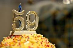Número 59 - torta de cumpleaños Fotos de archivo libres de regalías