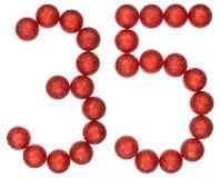 Número 35, treinta y cinco, de las bolas decorativas, aisladas en pizca Fotografía de archivo