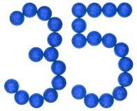 Número 35, treinta y cinco, de las bolas decorativas, aisladas en pizca Imágenes de archivo libres de regalías