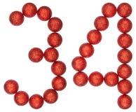 Número 34, treinta y cuatro, de las bolas decorativas, aisladas en pizca Fotos de archivo libres de regalías