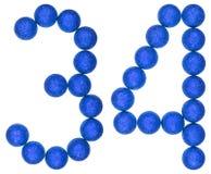 Número 34, treinta y cuatro, de las bolas decorativas, aisladas en pizca Imagen de archivo