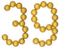 Número 39, treinta y nueve, de las bolas decorativas, aisladas en pizca Fotografía de archivo