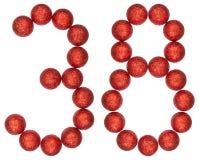 Número 38, treinta y ocho, de las bolas decorativas, aisladas en whi Imagen de archivo libre de regalías