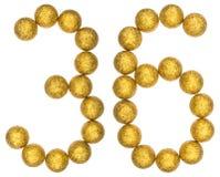 Número 36, treinta y seis, de las bolas decorativas, aisladas en blanco Foto de archivo libre de regalías