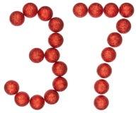 Número 37, treinta y siete, de las bolas decorativas, aisladas en whi Imagen de archivo