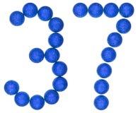 Número 37, treinta y siete, de las bolas decorativas, aisladas en whi Fotos de archivo