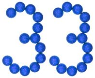 Número 33, treinta y tres, de las bolas decorativas, aisladas en whi Fotografía de archivo libre de regalías