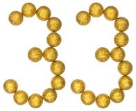 Número 33, treinta y tres, de las bolas decorativas, aisladas en whi Foto de archivo