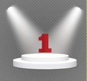 Número um… pódio em um fundo transparente cena branca iluminada O pódio dos vencedores ilustração royalty free