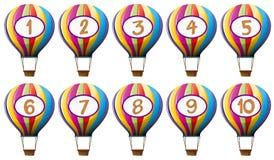 Número um dez em balões coloridos ilustração do vetor