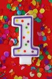 Número uma vela do aniversário Imagens de Stock