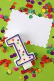 Número una vela del cumpleaños Fotos de archivo libres de regalías