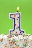 Número una vela del cumpleaños Imagen de archivo libre de regalías