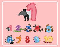 Número uno y otros números con los animales ilustración del vector
