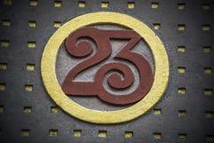 Número veintitrés con oro y la decoración roja fotos de archivo libres de regalías