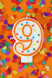 Número vela de nueve cumpleaños imagen de archivo libre de regalías