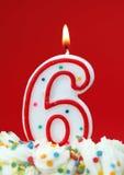 Número vela de seis cumpleaños Foto de archivo libre de regalías