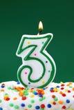 Número vela de três aniversários Foto de Stock