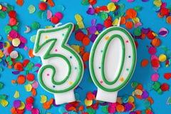Número vela de treinta cumpleaños Fotografía de archivo