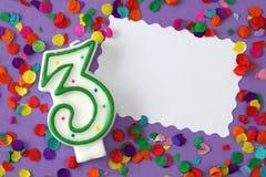 Número vela de tres cumpleaños Foto de archivo