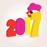 Número vermelho, amarelo e cor-de-rosa da imagem do ícone de uns dois mil décimos sétimos anos 2017 no fone branco Natal do simvo Fotos de Stock Royalty Free
