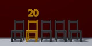 Número vinte e fileira de cadeiras ilustração do vetor