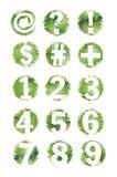 Número y conjunto de símbolo Textured Grunge verdes 1-9 Imágenes de archivo libres de regalías