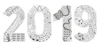 Número Zentangle 2019 Objeto decorativo del vector Foto de archivo libre de regalías