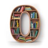 Número 0 zero Alfabeto sob a forma das prateleiras com isolat dos livros Imagens de Stock