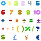 Números árabes, operaciones aritméticas y símbolos de monedas Fotografía de archivo