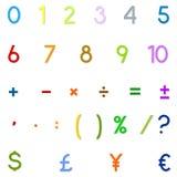 Números árabes, operaciones aritméticas y símbolos de monedas Foto de archivo