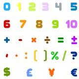Números árabes, operaciones aritméticas y símbolos de monedas Fotografía de archivo libre de regalías