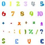 Números árabes, operaciones aritméticas y símbolos de monedas Imágenes de archivo libres de regalías