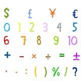 Números árabes, operaciones aritméticas y símbolos de monedas Foto de archivo libre de regalías